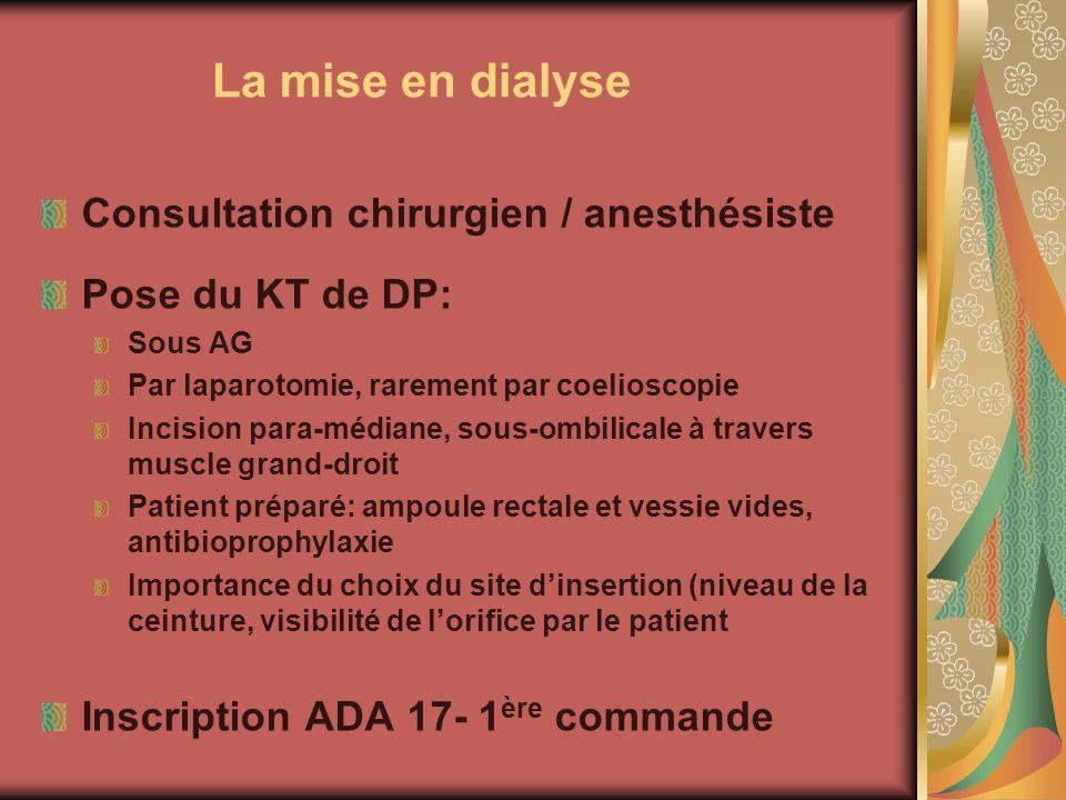 La mise en dialyse Consultation chirurgien / anesthésiste Pose du KT de DP: Sous AG Par laparotomie, rarement par coelioscopie Incision para-médiane,