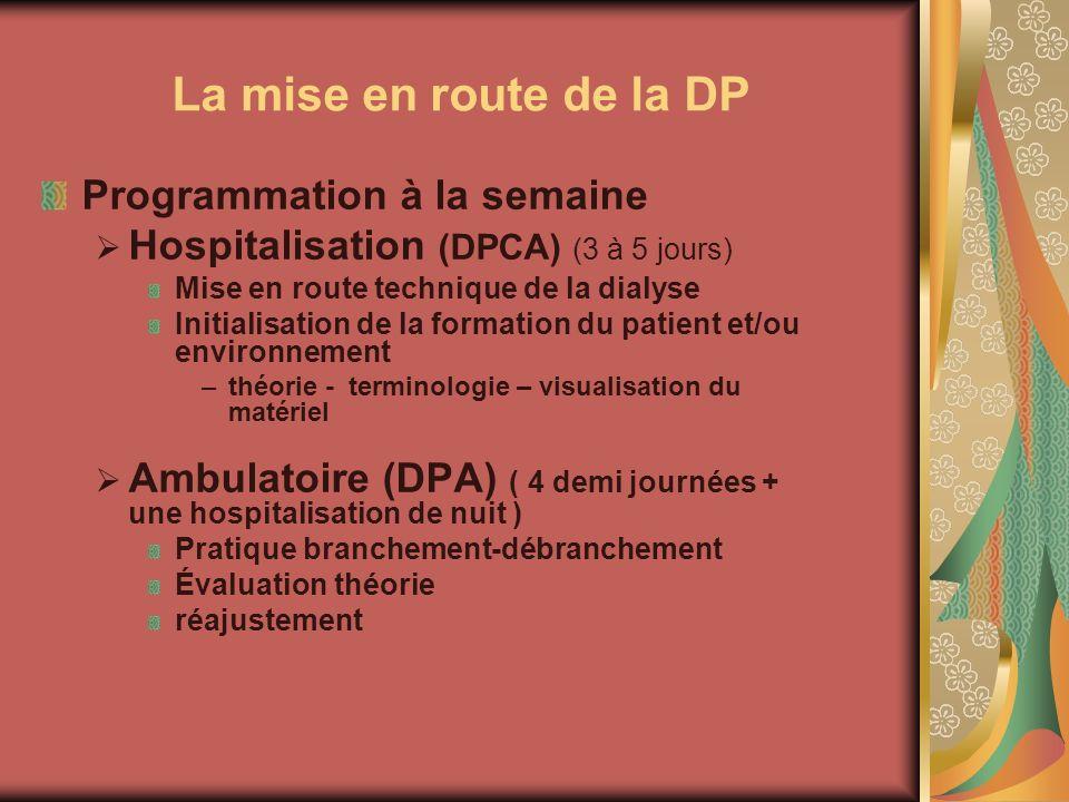 La mise en route de la DP Programmation à la semaine Hospitalisation (DPCA) (3 à 5 jours) Mise en route technique de la dialyse Initialisation de la f