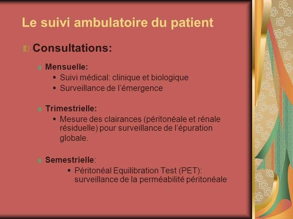 Le suivi ambulatoire du patient Consultations: Mensuelle: Suivi médical: clinique et biologique Surveillance de lémergence Trimestrielle: Mesure des c