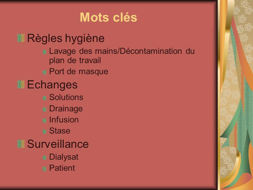 Mots clés Règles hygiène Lavage des mains/Décontamination du plan de travail Port de masque Echanges Solutions Drainage Infusion Stase Surveillance Di