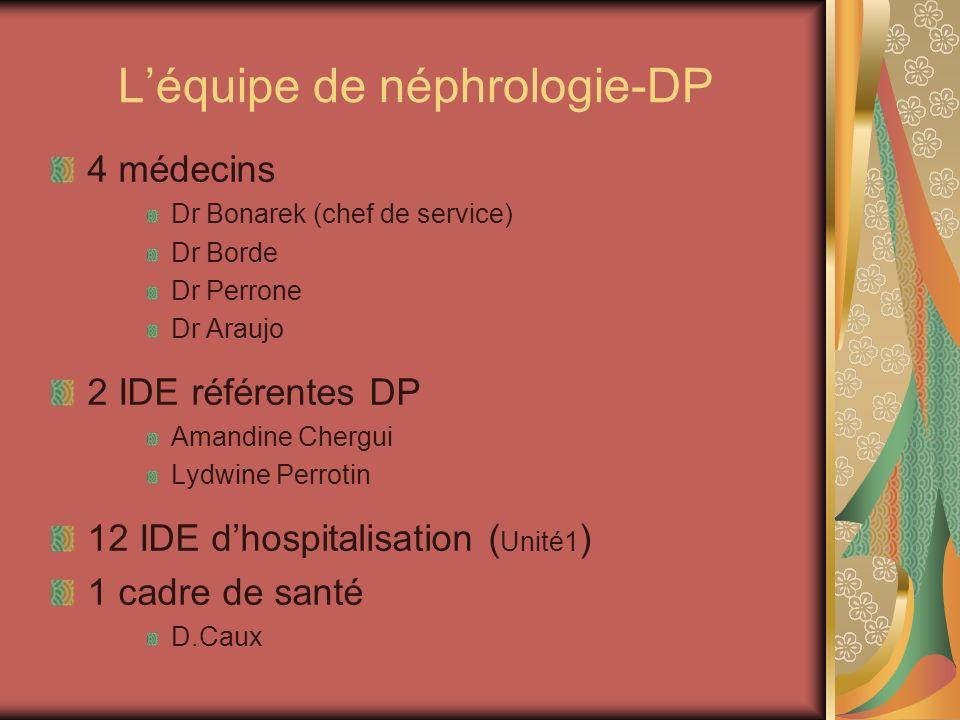 Léquipe de néphrologie-DP 4 médecins Dr Bonarek (chef de service) Dr Borde Dr Perrone Dr Araujo 2 IDE référentes DP Amandine Chergui Lydwine Perrotin