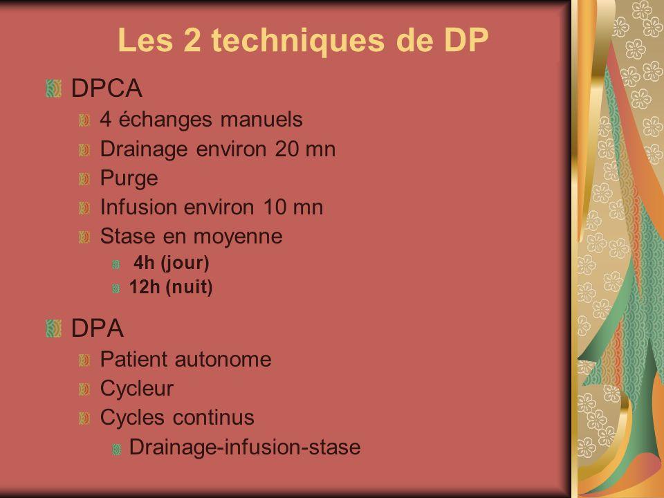 Les 2 techniques de DP DPCA 4 échanges manuels Drainage environ 20 mn Purge Infusion environ 10 mn Stase en moyenne 4h (jour) 12h (nuit) DPA Patient a