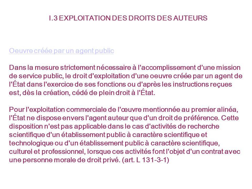 I.3 EXPLOITATION DES DROITS DES AUTEURS Oeuvre créée par un agent public Dans la mesure strictement nécessaire à l'accomplissement d'une mission de se
