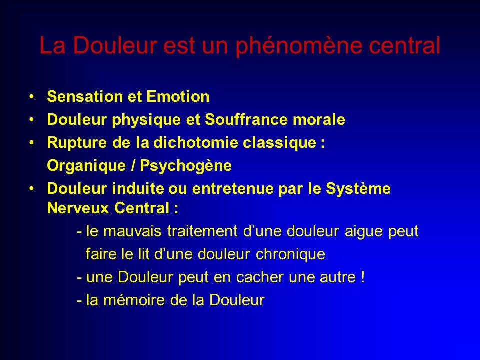 La Douleur est un phénomène central Sensation et Emotion Douleur physique et Souffrance morale Rupture de la dichotomie classique : Organique / Psycho