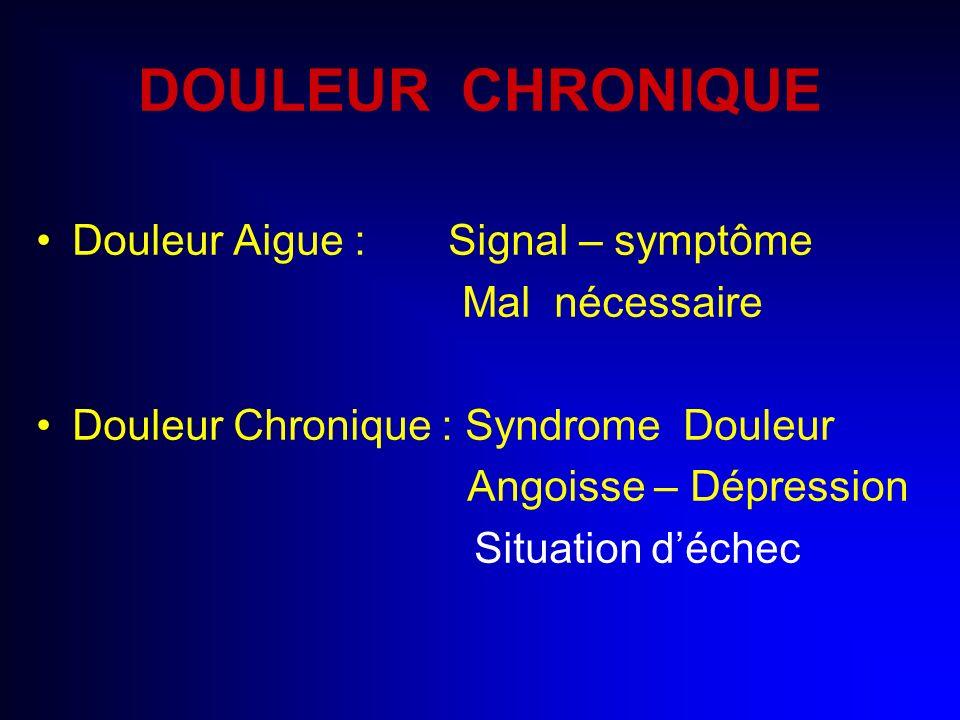 DOULEUR CHRONIQUE Douleur Aigue : Signal – symptôme Mal nécessaire Douleur Chronique : Syndrome Douleur Angoisse – Dépression Situation déchec