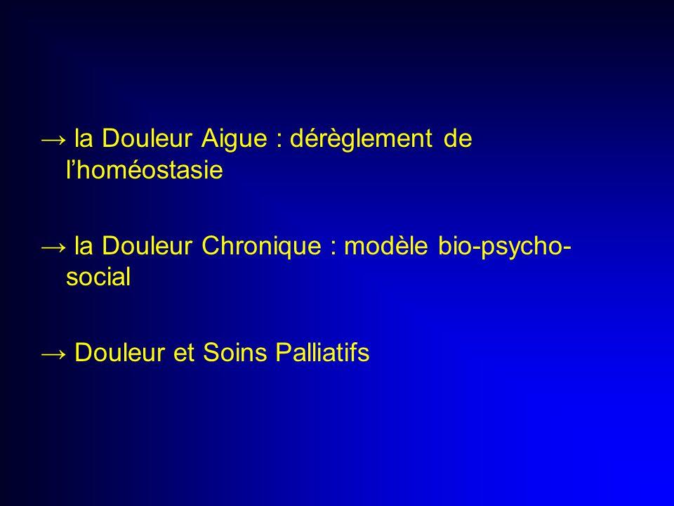 la Douleur Aigue : dérèglement de lhoméostasie la Douleur Chronique : modèle bio-psycho- social Douleur et Soins Palliatifs
