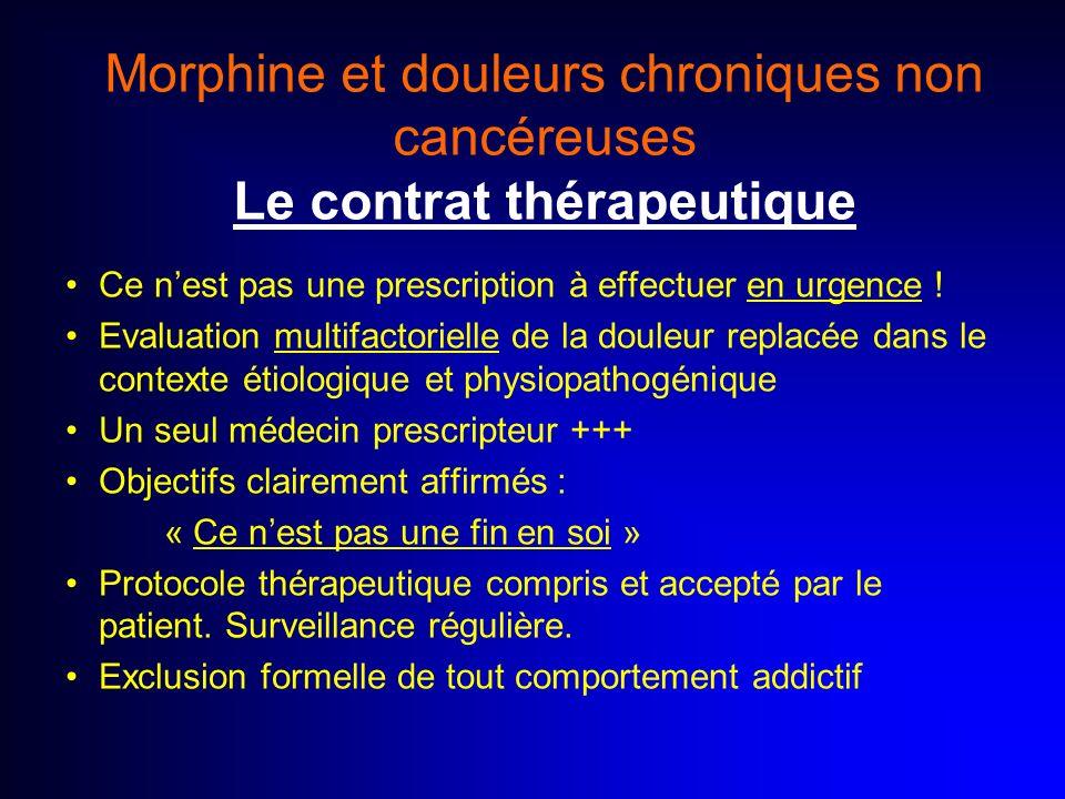 Morphine et douleurs chroniques non cancéreuses Le contrat thérapeutique Ce nest pas une prescription à effectuer en urgence ! Evaluation multifactori