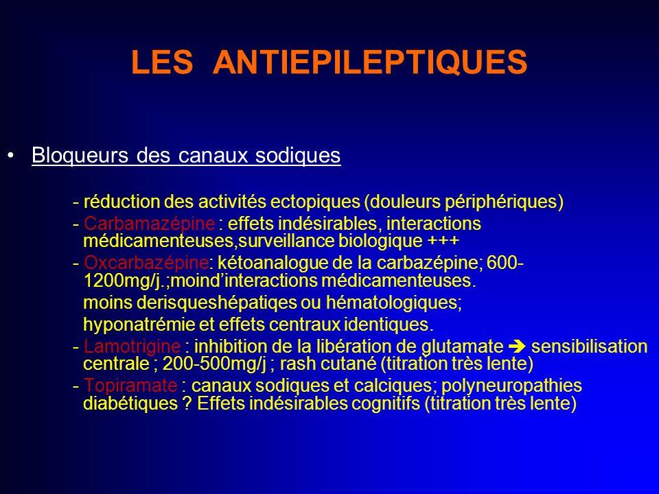 LES ANTIEPILEPTIQUES Bloqueurs des canaux sodiques - réduction des activités ectopiques (douleurs périphériques) - Carbamazépine : effets indésirables