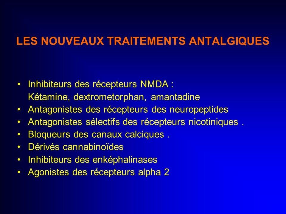 LES NOUVEAUX TRAITEMENTS ANTALGIQUES Inhibiteurs des récepteurs NMDA : Kétamine, dextrometorphan, amantadine Antagonistes des récepteurs des neuropept