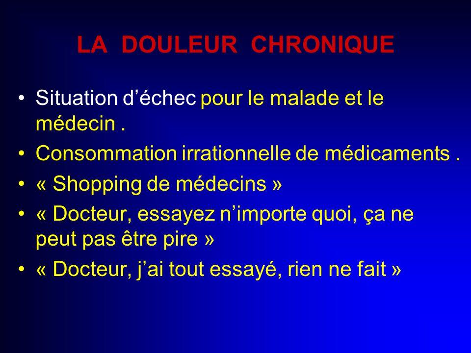 LA DOULEUR CHRONIQUE Situation déchec pour le malade et le médecin. Consommation irrationnelle de médicaments. « Shopping de médecins » « Docteur, ess