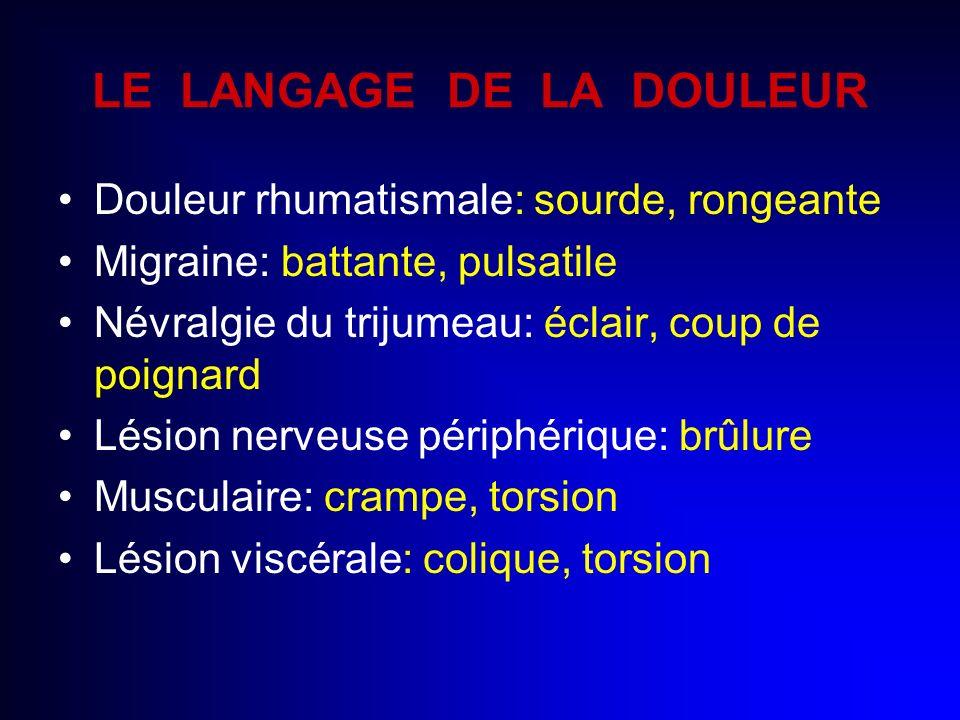 LE LANGAGE DE LA DOULEUR Douleur rhumatismale: sourde, rongeante Migraine: battante, pulsatile Névralgie du trijumeau: éclair, coup de poignard Lésion