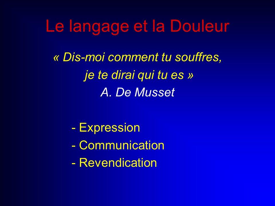 Le langage et la Douleur « Dis-moi comment tu souffres, je te dirai qui tu es » A. De Musset - Expression - Communication - Revendication