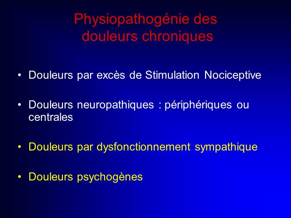 Physiopathogénie des douleurs chroniques Douleurs par excès de Stimulation Nociceptive Douleurs neuropathiques : périphériques ou centrales Douleurs p