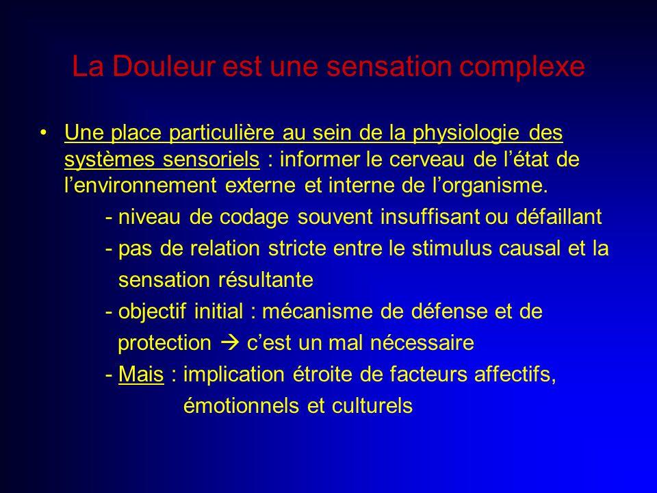 La Douleur est une sensation complexe Une place particulière au sein de la physiologie des systèmes sensoriels : informer le cerveau de létat de lenvi