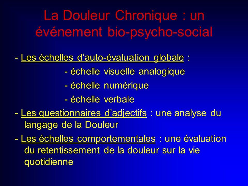La Douleur Chronique : un événement bio-psycho-social - Les échelles dauto-évaluation globale : - échelle visuelle analogique - échelle numérique - éc