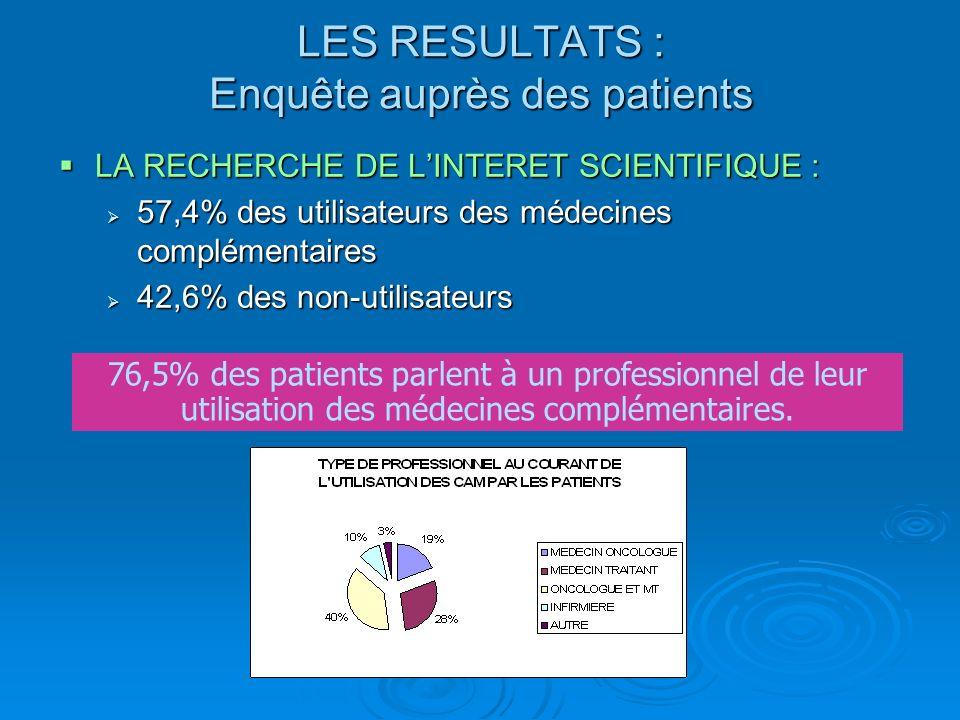 LA RECHERCHE DE LINTERET SCIENTIFIQUE : LA RECHERCHE DE LINTERET SCIENTIFIQUE : 57,4% des utilisateurs des médecines complémentaires 57,4% des utilisa