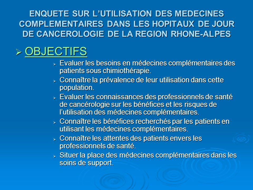 OBJECTIFS OBJECTIFS Evaluer les besoins en médecines complémentaires des patients sous chimiothérapie. Evaluer les besoins en médecines complémentaire