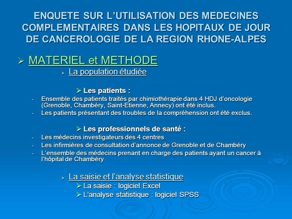 ENQUETE SUR LUTILISATION DES MEDECINES COMPLEMENTAIRES DANS LES HOPITAUX DE JOUR DE CANCEROLOGIE DE LA REGION RHONE-ALPES MATERIEL et METHODE MATERIEL