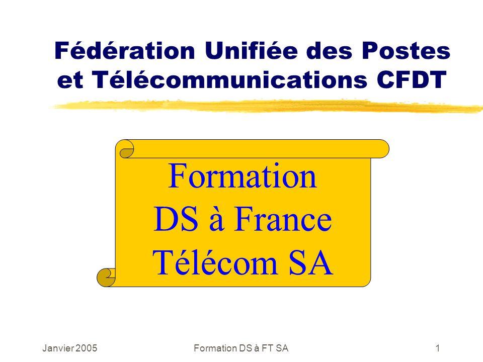 Janvier 2005Formation DS à FT SA1 Fédération Unifiée des Postes et Télécommunications CFDT Formation DS à France Télécom SA