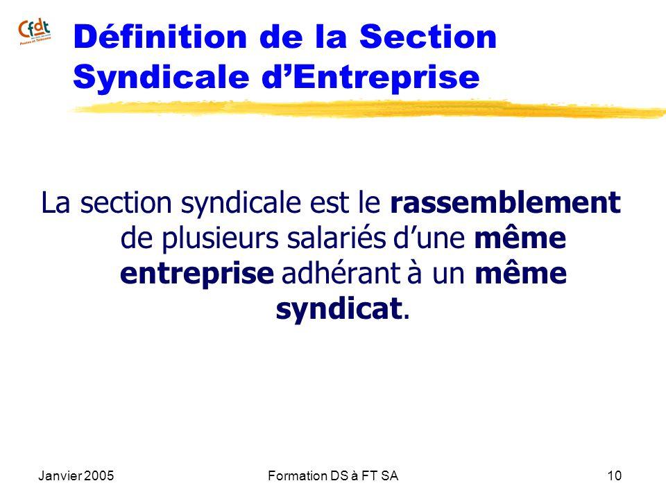 Janvier 2005Formation DS à FT SA10 Définition de la Section Syndicale dEntreprise La section syndicale est le rassemblement de plusieurs salariés dune