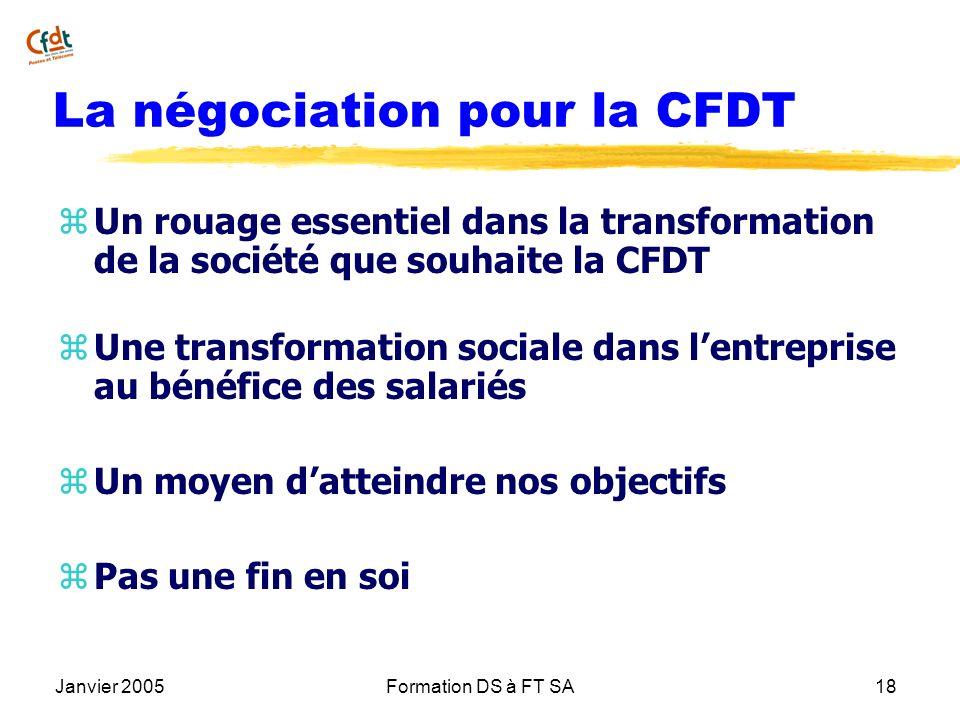 Janvier 2005Formation DS à FT SA18 La négociation pour la CFDT z Un rouage essentiel dans la transformation de la société que souhaite la CFDT z Une t