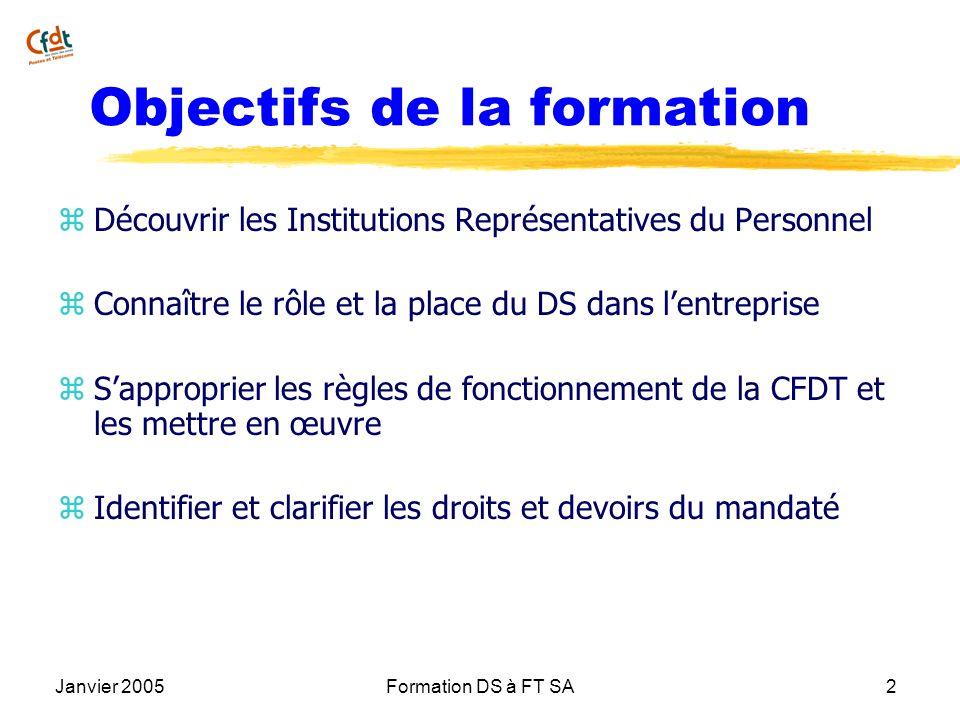 Janvier 2005Formation DS à FT SA2 Objectifs de la formation z Découvrir les Institutions Représentatives du Personnel z Connaître le rôle et la place