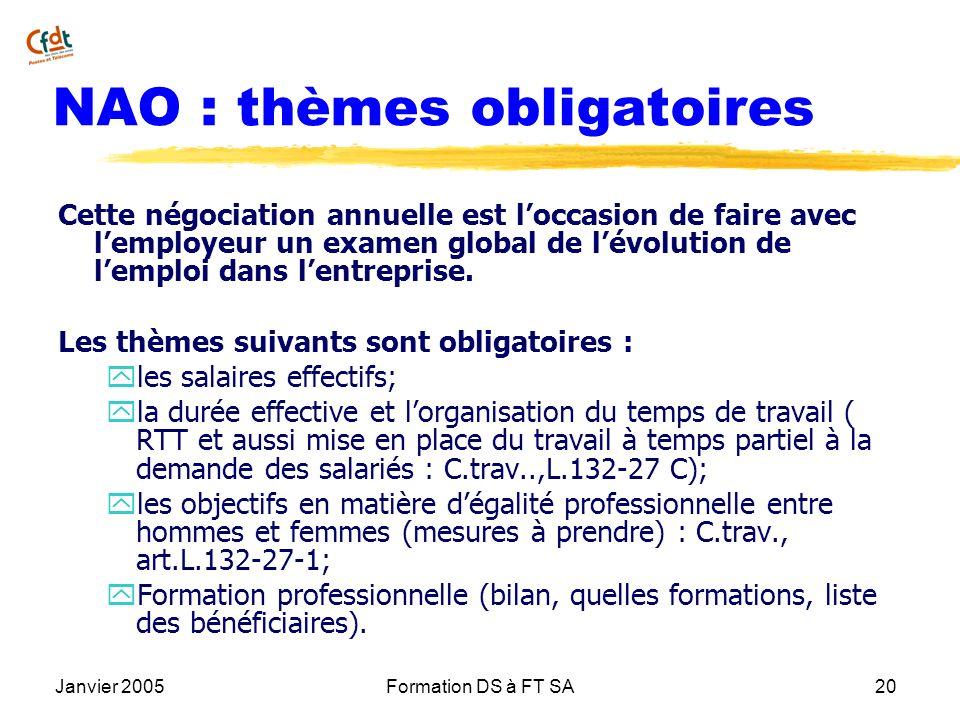 Janvier 2005Formation DS à FT SA20 NAO : thèmes obligatoires Cette négociation annuelle est loccasion de faire avec lemployeur un examen global de lév