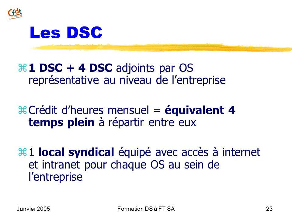 Janvier 2005Formation DS à FT SA23 Les DSC z 1 DSC + 4 DSC adjoints par OS représentative au niveau de lentreprise z Crédit dheures mensuel = équivale