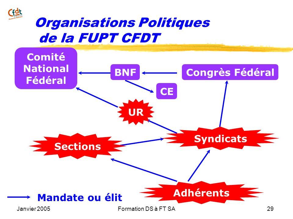 Janvier 2005Formation DS à FT SA29 Mandate ou élit CE Comité National Fédéral Congrès FédéralBNF Adhérents Sections Syndicats UR Organisations Politiq