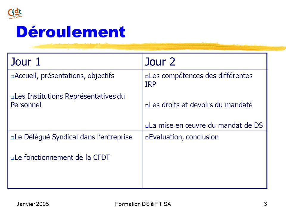Janvier 2005Formation DS à FT SA3 Déroulement Jour 1Jour 2 Accueil, présentations, objectifs Les Institutions Représentatives du Personnel Les compéte