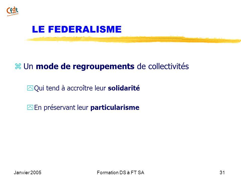 Janvier 2005Formation DS à FT SA31 LE FEDERALISME z Un mode de regroupements de collectivités y Qui tend à accroître leur solidarité y En préservant l