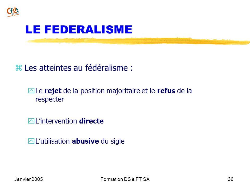 Janvier 2005Formation DS à FT SA36 LE FEDERALISME z Les atteintes au fédéralisme : y Le rejet de la position majoritaire et le refus de la respecter y