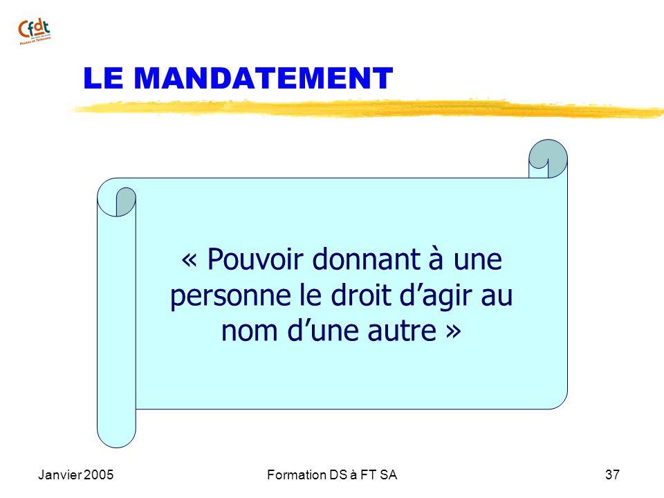 Janvier 2005Formation DS à FT SA37 LE MANDATEMENT « Pouvoir donnant à une personne le droit dagir au nom dune autre »