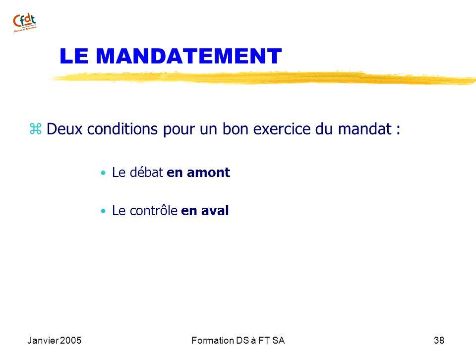 Janvier 2005Formation DS à FT SA38 LE MANDATEMENT z Deux conditions pour un bon exercice du mandat : Le débat en amont Le contrôle en aval