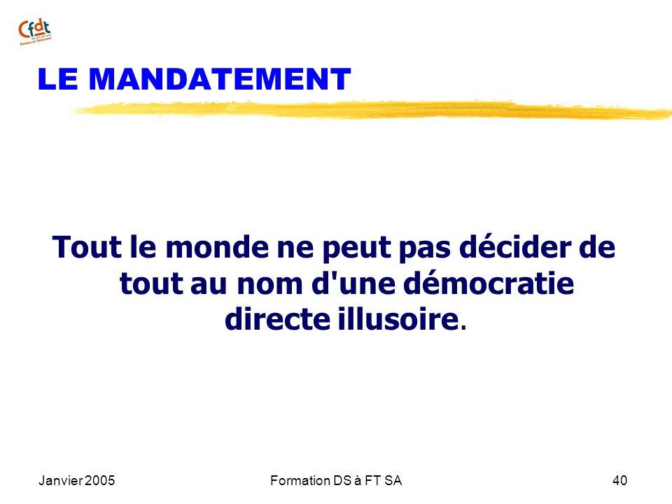 Janvier 2005Formation DS à FT SA40 LE MANDATEMENT Tout le monde ne peut pas décider de tout au nom d'une démocratie directe illusoire.