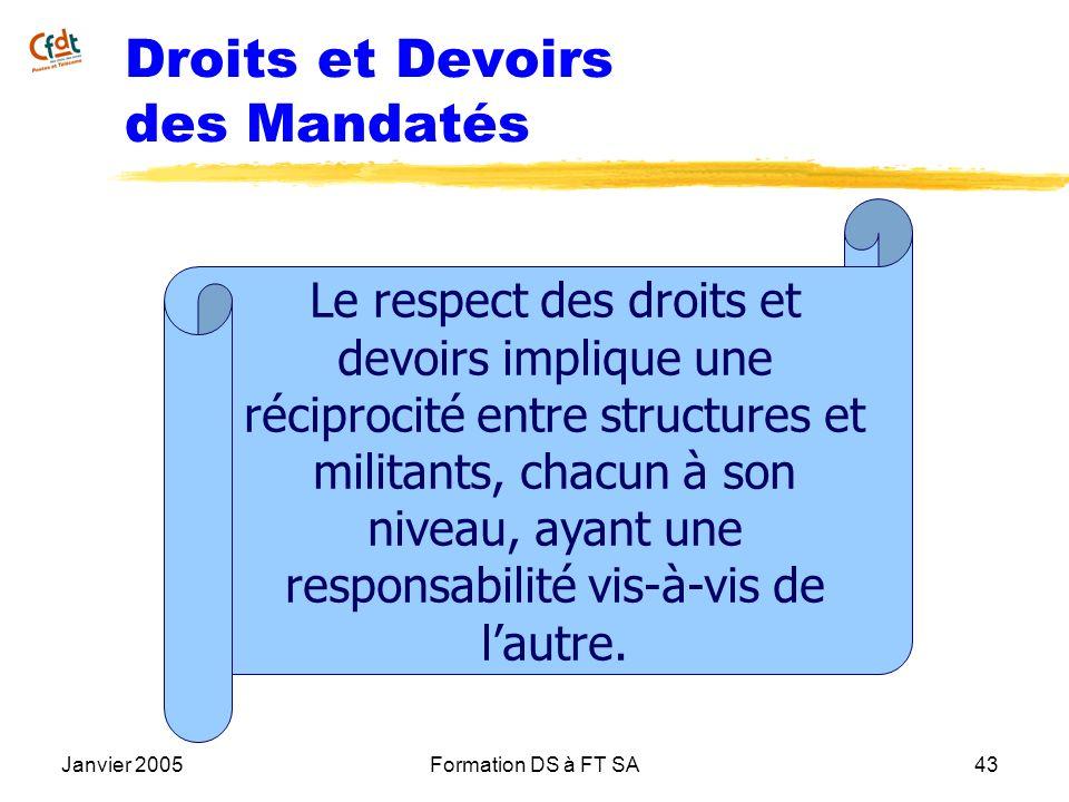 Janvier 2005Formation DS à FT SA43 Droits et Devoirs des Mandatés Le respect des droits et devoirs implique une réciprocité entre structures et milita
