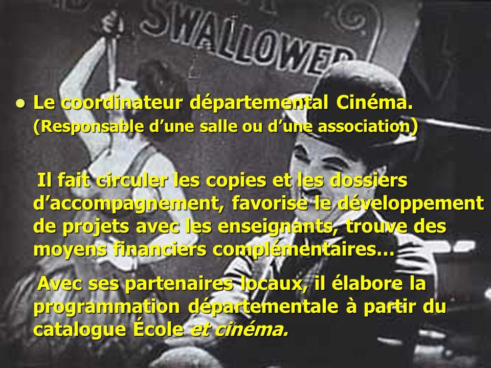 Le coordinateur départemental Cinéma. (Responsable dune salle ou dune association ) Le coordinateur départemental Cinéma. (Responsable dune salle ou d