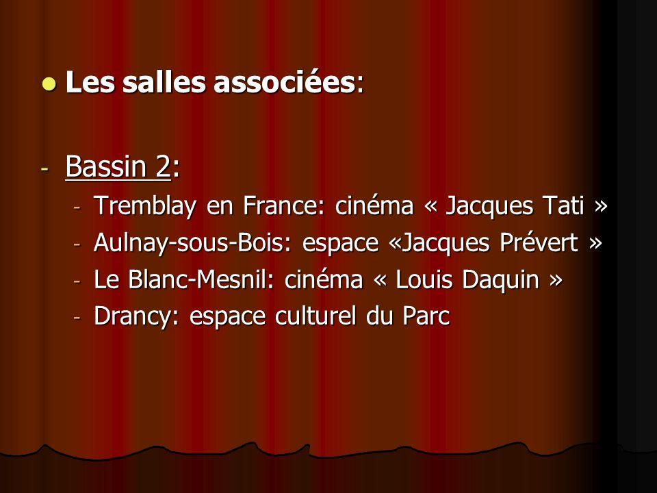 Les salles associées: Les salles associées: - Bassin 2: - Tremblay en France: cinéma « Jacques Tati » - Aulnay-sous-Bois: espace «Jacques Prévert » -
