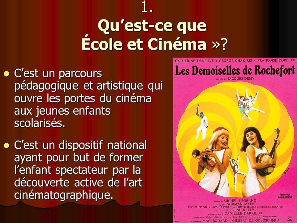 Il permet de lier le cinéma à lécole avec deux objectifs: - Inciter les enfants à prendre le chemin de la salle de cinéma et sapproprier ce lieu de pratique culturelle, de partage, de lien social… - Initier une réelle approche du cinéma en tant quart à découvrir et à aimer.