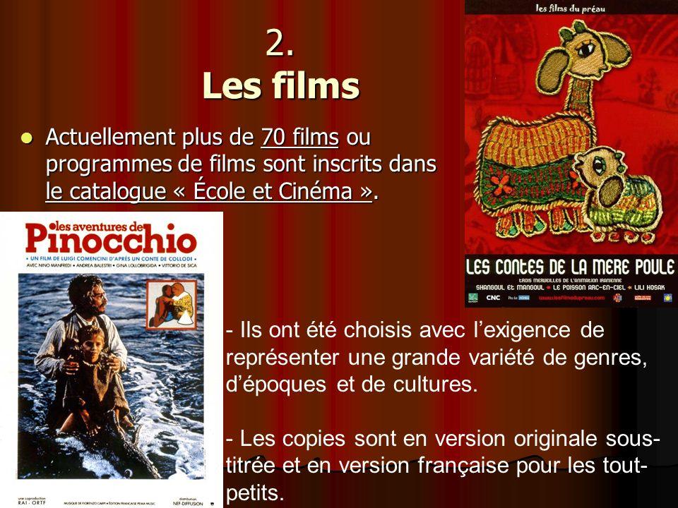 2. Les films Actuellement plus de 70 films ou programmes de films sont inscrits dans le catalogue « École et Cinéma ». Actuellement plus de 70 films o