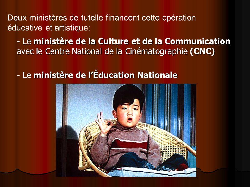 - Le ministère de la Culture et de la Communication avec le Centre National de la Cinématographie (CNC) - Le ministère de lÉducation Nationale Deux mi