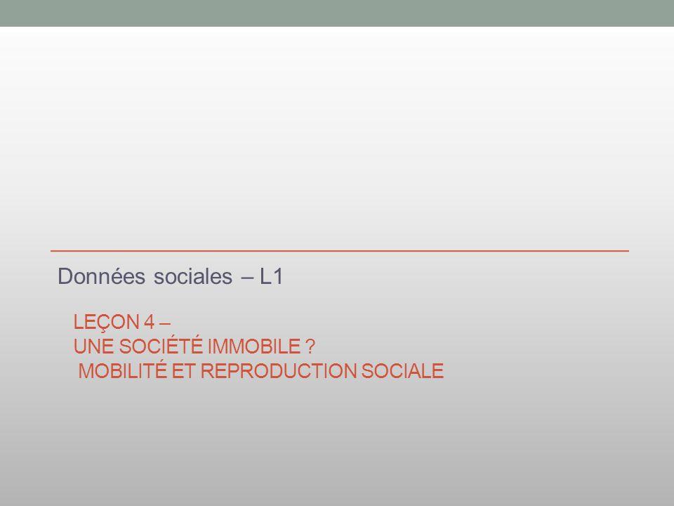 LEÇON 4 – UNE SOCIÉTÉ IMMOBILE ? MOBILITÉ ET REPRODUCTION SOCIALE Données sociales – L1