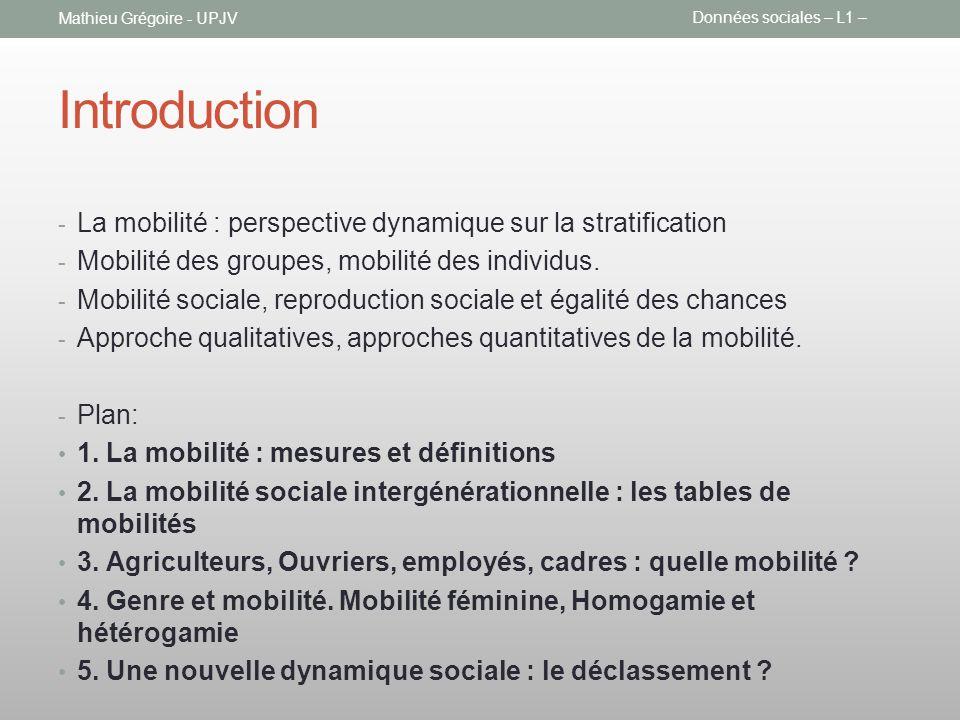 Introduction - La mobilité : perspective dynamique sur la stratification - Mobilité des groupes, mobilité des individus. - Mobilité sociale, reproduct