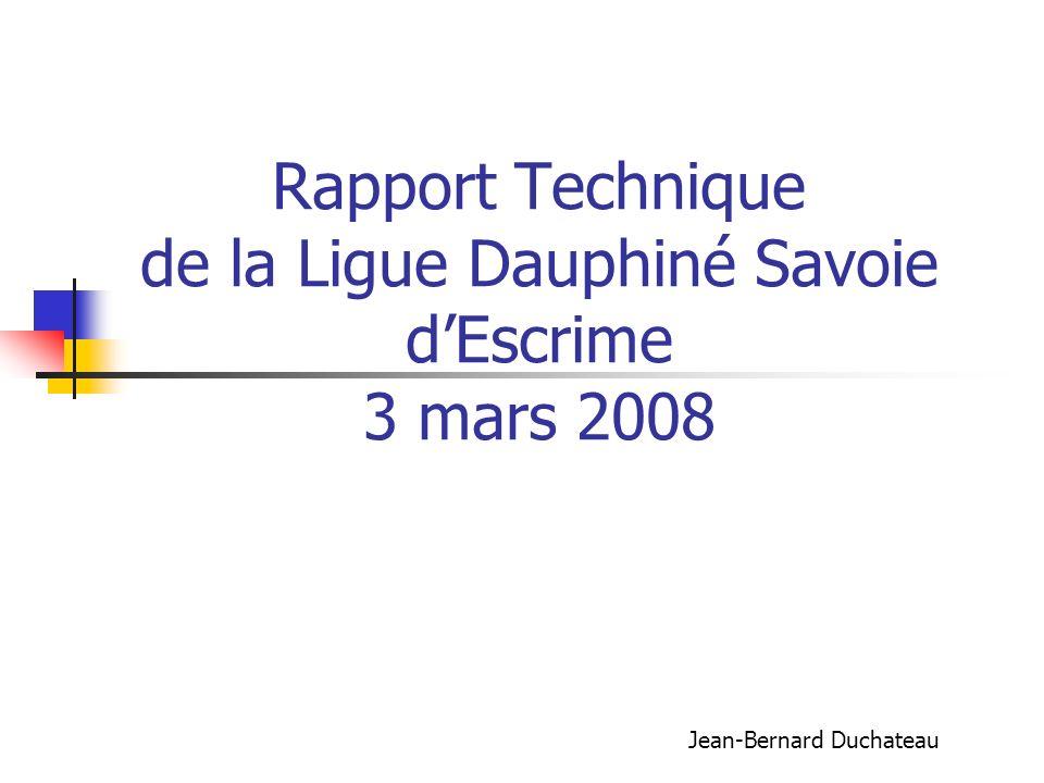 Rapport Technique de la Ligue Dauphiné Savoie dEscrime 3 mars 2008 Jean-Bernard Duchateau