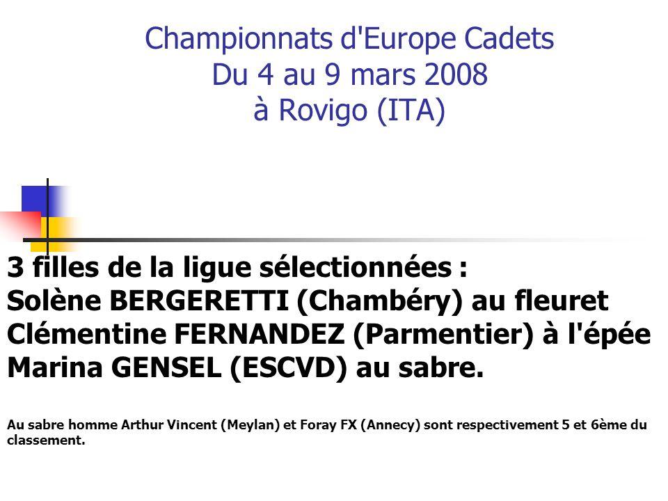 Championnats d'Europe Cadets Du 4 au 9 mars 2008 à Rovigo (ITA) 3 filles de la ligue sélectionnées : Solène BERGERETTI (Chambéry) au fleuret Clémentin