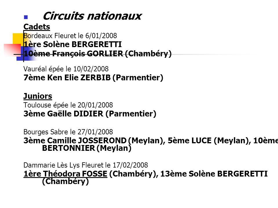 Circuits nationaux Cadets Bordeaux Fleuret le 6/01/2008 1ère Solène BERGERETTI 10ème François GORLIER (Chambéry) Vauréal épée le 10/02/2008 7ème Ken E