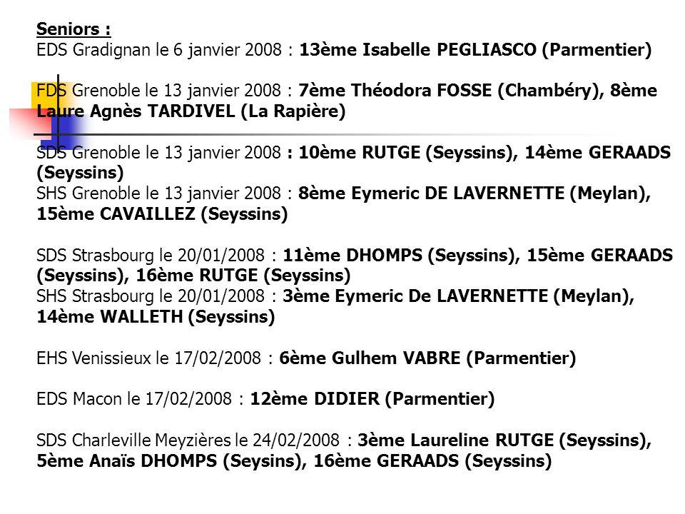 Seniors : EDS Gradignan le 6 janvier 2008 : 13ème Isabelle PEGLIASCO (Parmentier) FDS Grenoble le 13 janvier 2008 : 7ème Théodora FOSSE (Chambéry), 8è