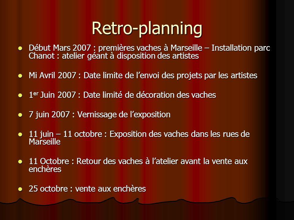 Retro-planning Début Mars 2007 : premières vaches à Marseille – Installation parc Chanot : atelier géant à disposition des artistes Début Mars 2007 :