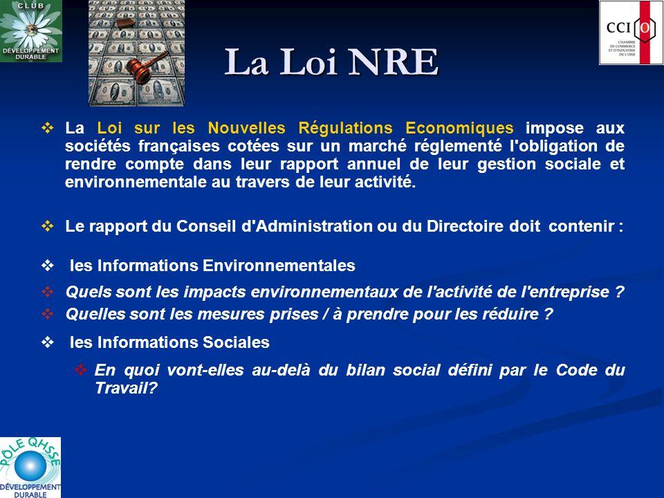 La Loi NRE La Loi sur les Nouvelles Régulations Economiques impose aux sociétés françaises cotées sur un marché réglementé l'obligation de rendre comp