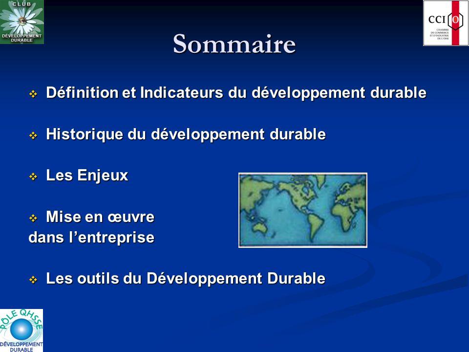 Sommaire Définition et Indicateurs du développement durable Définition et Indicateurs du développement durable Historique du développement durable His